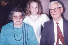 "My cousin, ""Katie"" Kathryn Ann Schemering, with our grandparents, Reba Virginia SEAL Rivers and Thomas Dewitt Rivers, Jr, about 1991 or 1992"